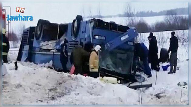 روسيا : سقوط قتلى في انهيار حافلة من أعلى جسر