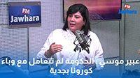 عبير موسي : الحكومة لم تتعامل مع وباء كورونا بجدية